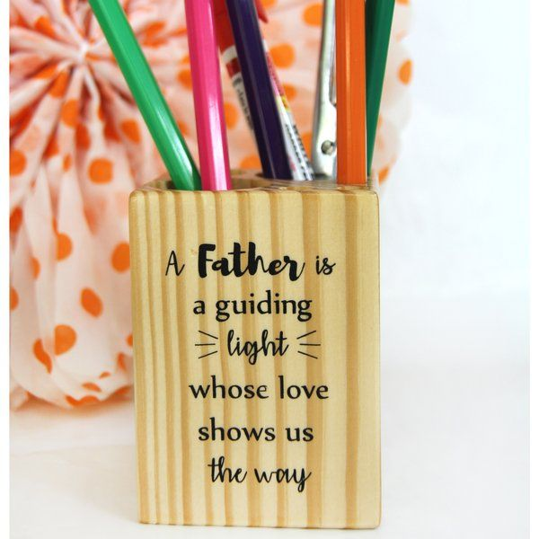 Ivei IVEI Pine Wood Pen Stand Cube - For  Father Retirement Gift For Father