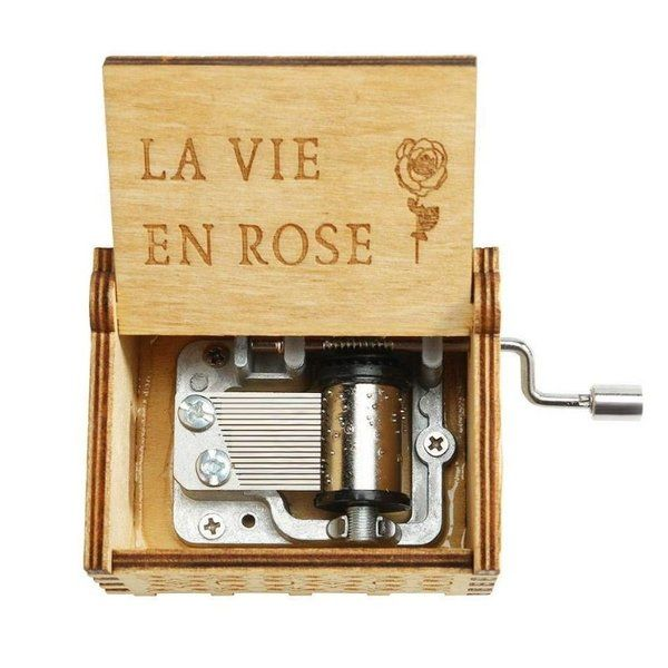 zestaindia La Vie En Rose Wooden Hand Cranked Collectable Engraved Music Box 5th Anniversary Gift For Husband
