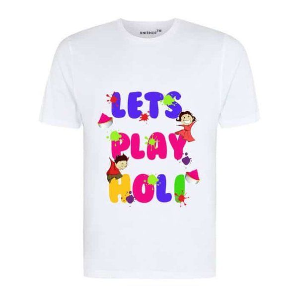 Knitroot Lets Play Holi Men's T-Shirt for Holi Party Latest Gifts For Husband