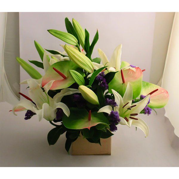 FlowerBox Lilies & Anthuriums In A Browm Box 50th Birthday Gift Ideas For Dad