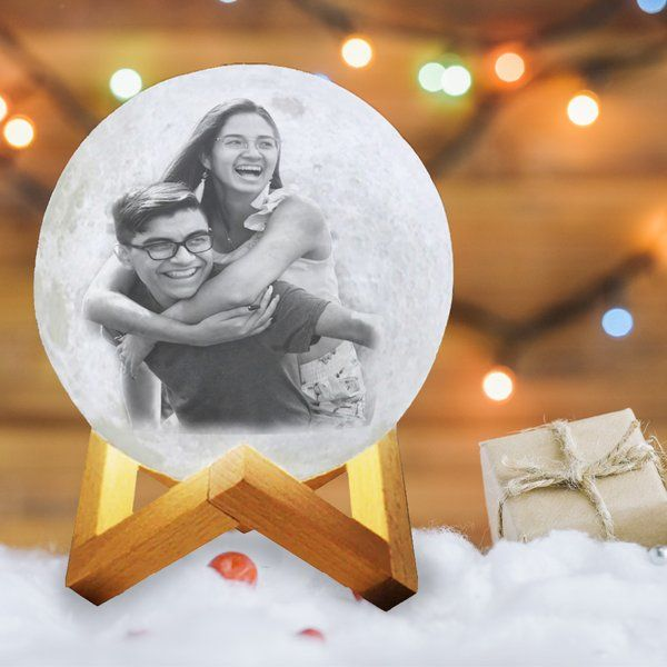 Soch3D New Year 2021 Sibling 3D Multicolor Moon Lamp with Photo and Personalised Text - Touch Control Brother And Sister Gifts