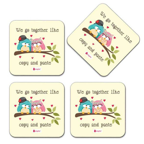 Indigifts Owl Couple Sitting On A Branch With Hearts White Coaster Useful Gifts For Friends