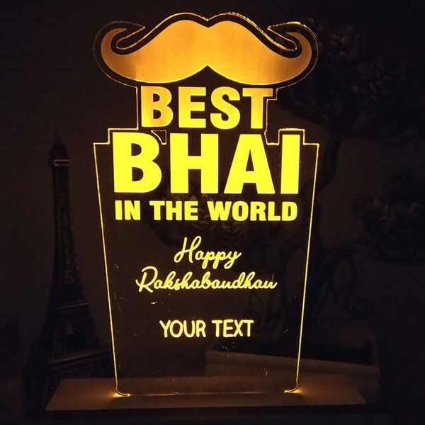 FlowerAura Personalised Bhai Night Lamp Birthday Gift For Younger Brother