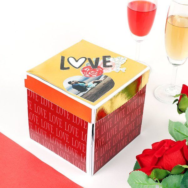 FlowerAura Personalised Golden And Red Love Box Simple Gifts For Husband