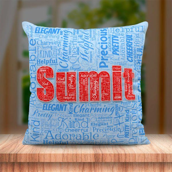 Waah Craft Personalized Name Art Cushion Engagement Gift For Wife