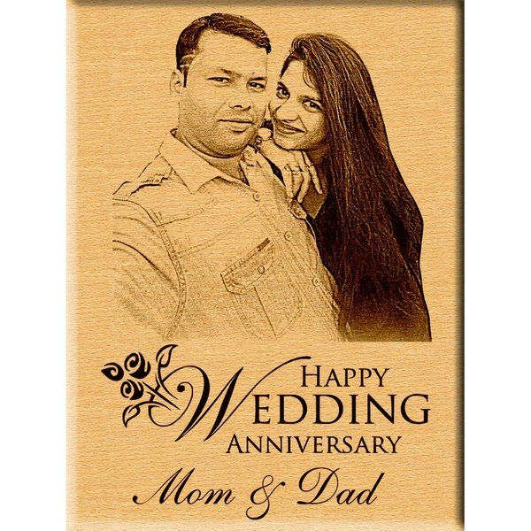 Incredible Gifts Personalized Wedding Anniversary Gift - Portrait Engraved Photo Plaque First Anniversary Gift For Wife