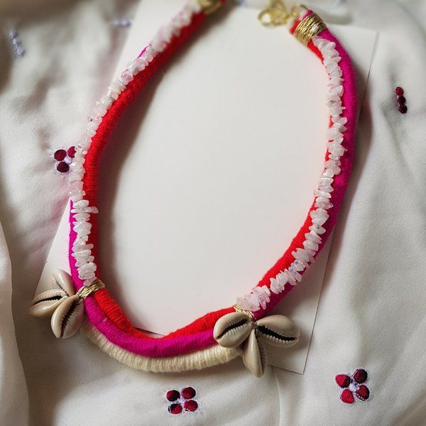 MyMeeraStore Pink Effect Thread Necklace Gifts For Wife