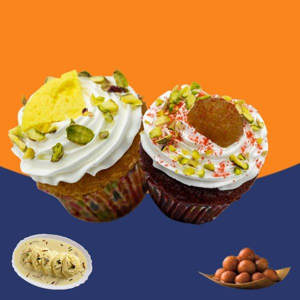 CakeZone Rasmalai Cupcake + Gulab Jamun Red Velvet Cupcake Gift For Girlfriend Under 200