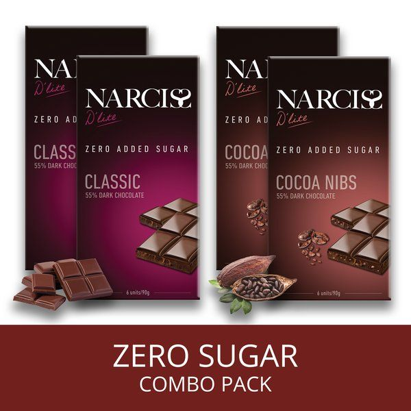 Narciss Sugar Free 55% Dark Chocolate - Classic and Cocoa Nibs Special Gift For Husband