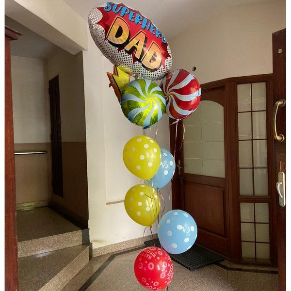 Dottedi Super Dad Balloon Bouquet Fathers Day Decorations