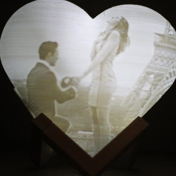 Soch3D Surprise 3D Heart Photo Lamp Light - 18cm with Touch Light, Adjustable Brightness Useful Gifts For Wife