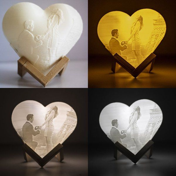 Soch3D Surprise 3D Personalized Heart Photo Lamp - 18cm with Touch Light, Adjustable Brightness Happy 1st Anniversary Gift