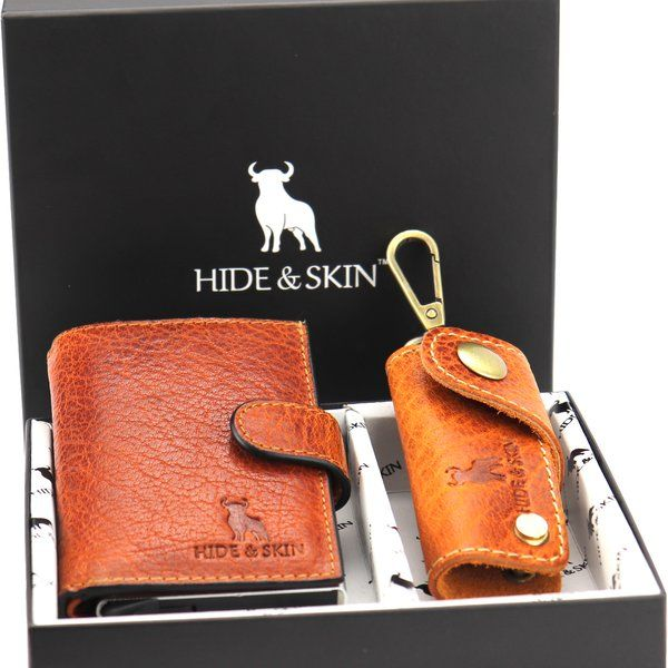 Hide & Skin Tan Leather Card Holder and Tan Leather Keychain Combo Last Minute Birthday Gift For Dad