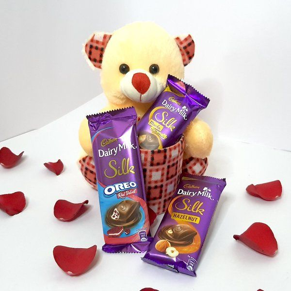Hoods & Bonds Teddy Cuddle with Chocolate Hamper for Her  Cute Gifts For Best Friend