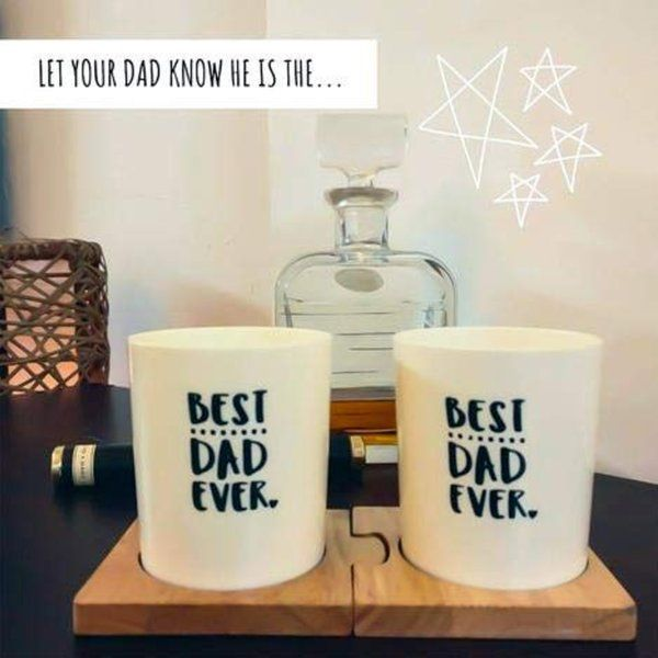 Stallion Barware Unbreakable Best Dad Ever Whiskey Glasses (350 ml - Set of 2 ) Gifts For Dad