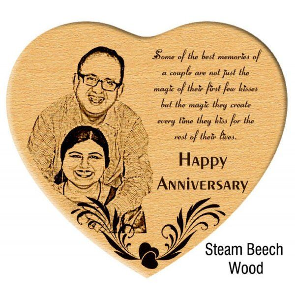 Incredible Gifts Unique Anniversary Gift Engraved Photo in Steam Beech Heart Anniversary Gift For Mom And Dad