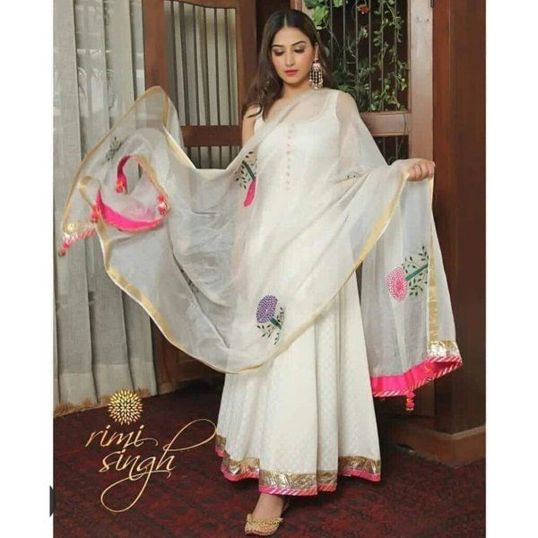 Hoods & Bonds White Color Women Cotten Kurti + Dupatta Gifts For Wife