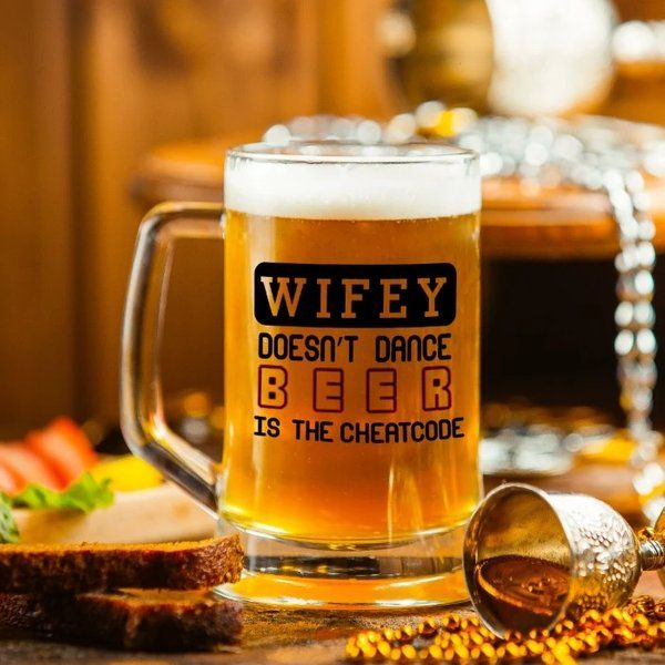 Indigifts Wifey Doesn't Dance, Beer Is The Cheatcode Quote Clear Glass Beer Mug - Gift For Gir First Birthday Gift For Wife After Marriage