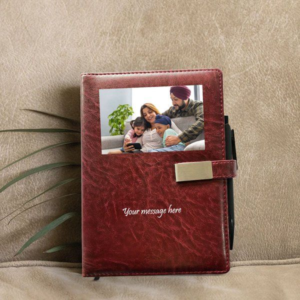 Privy Express Wine Red Personalised PU Leather Journal with Pen and Magnetic Closure Anniversary Gift For Mom And Dad