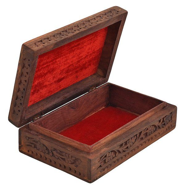 FineCraftIndia Wooden Designer Handcarved Jewellery Storage Box Gift For Married Sister