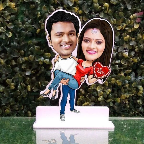 Privy Express You & Me Valentine Special Caricature Rose Day Gift For Husband