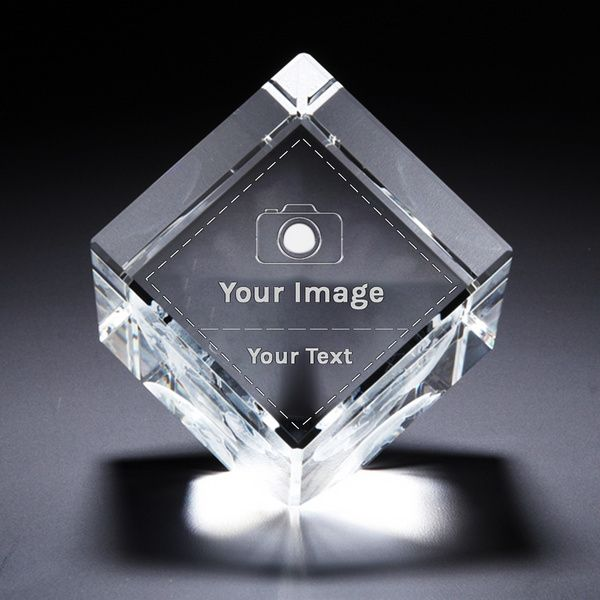 Personalized 3D Cube Cut Crystal Photo Gifts with Text