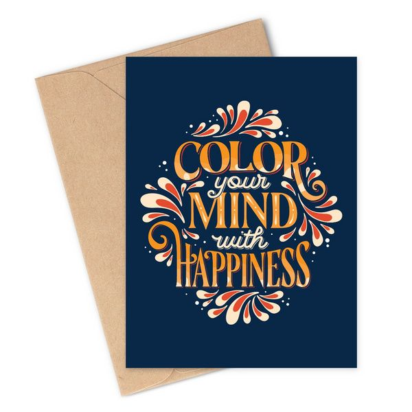 Color Your Mind With Happiness Happy Holi Greeting Card
