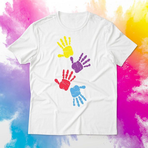 Holi Dress for Girl Colorful Hand Impressions Printed Cotton T-shirt Outfit