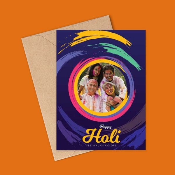 Festival of Colors Happy Holi Card with Photo Personalized Greeting Card