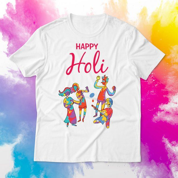Friends Playing Holi Special Dress Festive Graphic T-shirt Cotton Outfit