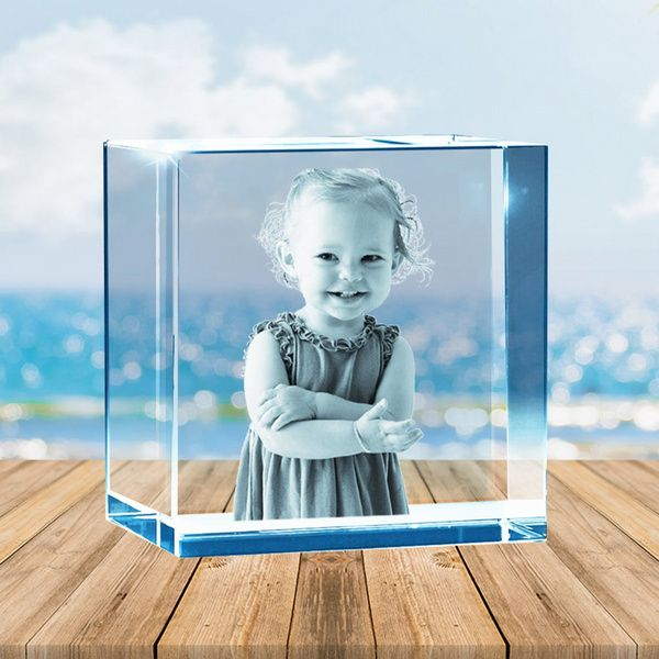 Growing Kid Customized Cube Laser Engraved 3D Crystal Photo Gifts