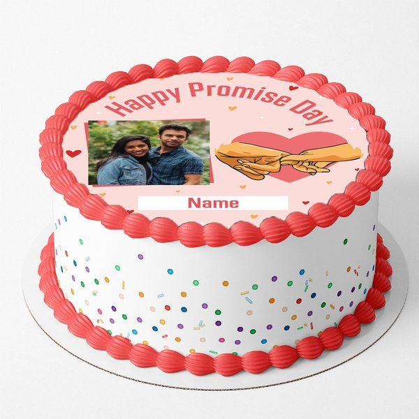 Happy Promise Day Gifts for Boyfriend Customized Designer Photo Cake