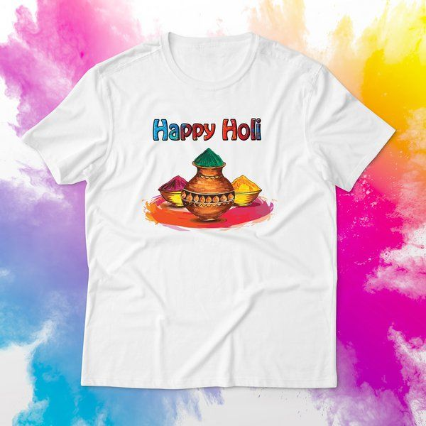 Holi Dress for Women Printed T-shirt Cotton Outfit