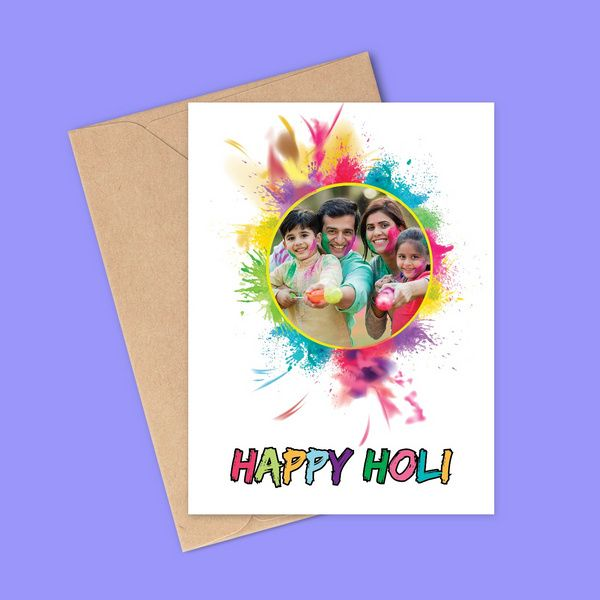 Unique Happy Holi Card with Photo Personalized Greeting Card