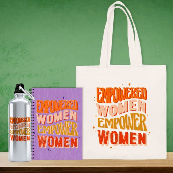Privy Express Empowered Women Empower Women Hamper | Notepad | Tote Bag | Sipper Bottle Corporate Gifts Online