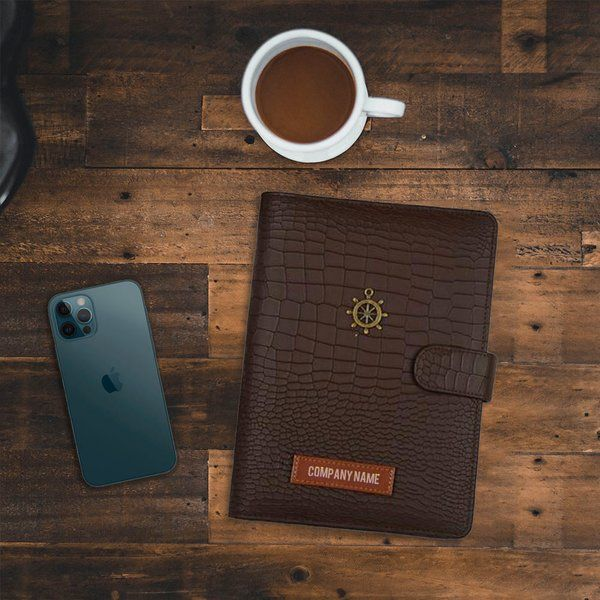 Tisora Designs Leather Brown Company Name Personalised Productivity Planner (Engraved) Luxury Corporate Gifts