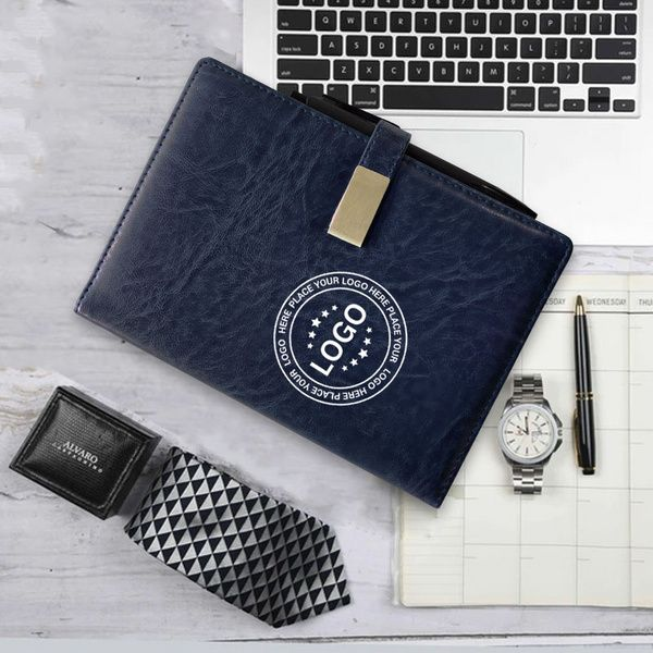 Privy Express Navy Blue PU Leather Journal with Pen and Magnetic Closure - Customizable with Company Logo and Message Corporate Gifts Online
