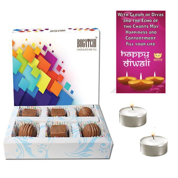 Bogatchi Unique Chocolate Box With 2 T Lights And Diwali Greeting Unique Corporate Gifts
