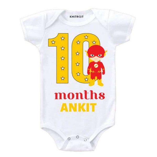 Knitroot 10 Month Birthday Superheroes Onesie Monthly Birthday Ideas For Baby