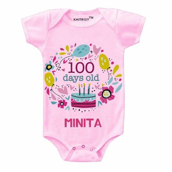 Knitroot 100 Day Old Baby Party Onesie 100 Days Baby Celebration Ideas