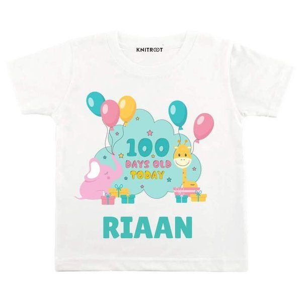 Knitroot 100 Days Old Today Baby Wear T-Shirts 100 Days Baby Celebration Ideas