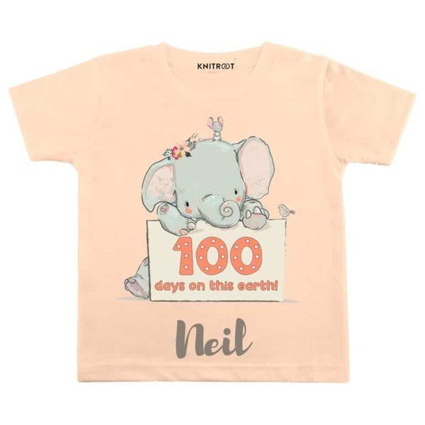 Knitroot 100 Days on This Earth! Baby Wear T-Shirts For Boy 100 Days Baby Celebration Ideas