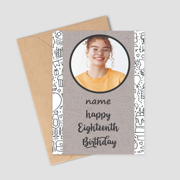 Privy Express 18th Birthday Wishes Personalized Name & 1 Photo Greeting Card  Birthday Greeting Cards