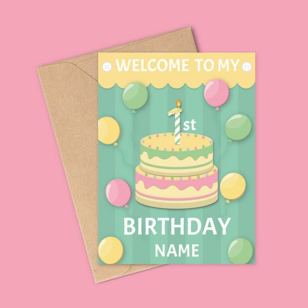 Privy Express 1st Birthday Name Personalized Baby and Toddler Invitation Card Birthday Greeting Cards