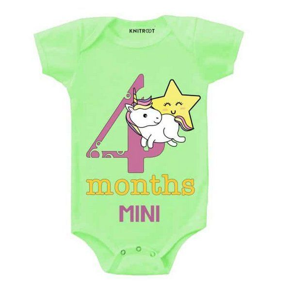 Knitroot 4th Month Unicorn Design Romper Monthly Birthday Ideas For Baby