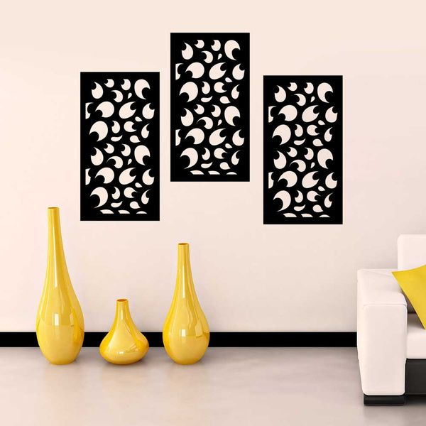 Privy Express Abstract Swirl Wall Panel   Set of 3 Panels Wall Decoration Items