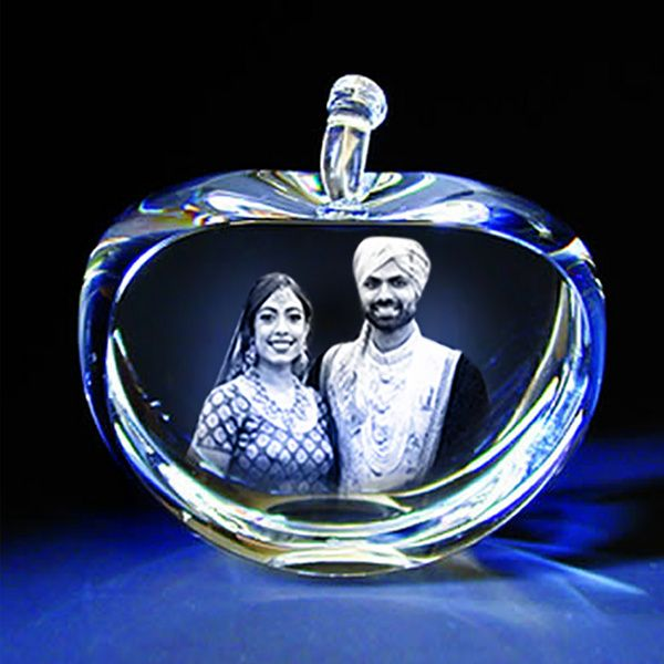 Privy Express Amazing Couple Personalized Apple Crystal Laser Engraved 3D Crystal Wedding Anniversary Photo Frames