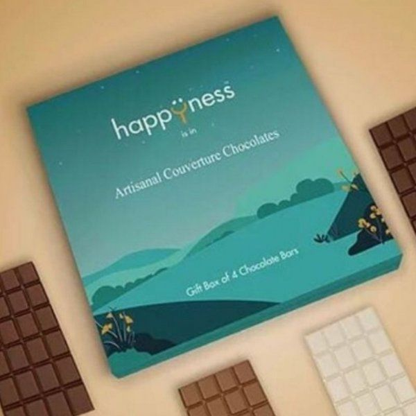 Happyness Chocolates Artisanal Couverture Teal Handmade Chocolate Gift Box of Four Chocolate Bars 5th Wedding Anniversary