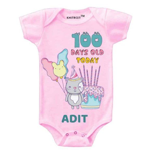 Knitroot Baby Personalized Onesie 100 Days Old Gifts For Twin Babies