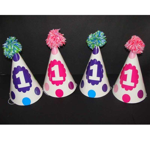 Untumble Blue and Pink Polka Hats Birthday Gifts For 1 Year Baby Girl